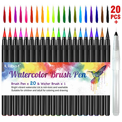 Liibot Watercolor Brush Marker Pens, 20 Colored Pens Set and 1 Water...