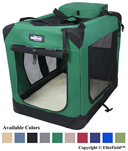 "EliteField 3-Door Folding Soft Dog Crate, Indoor & Outdoor Pet Home, Multiple Sizes and Colors Available (24"" L x 18"" W x 21"" H, Green)"
