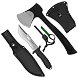 Yes4All Camping Axe and Knife Kit with Sheath & Fire Starter – Survival Axe Hatchet/Camping Hatchet & Fixed Blade Tactical Knife (Knife H155)