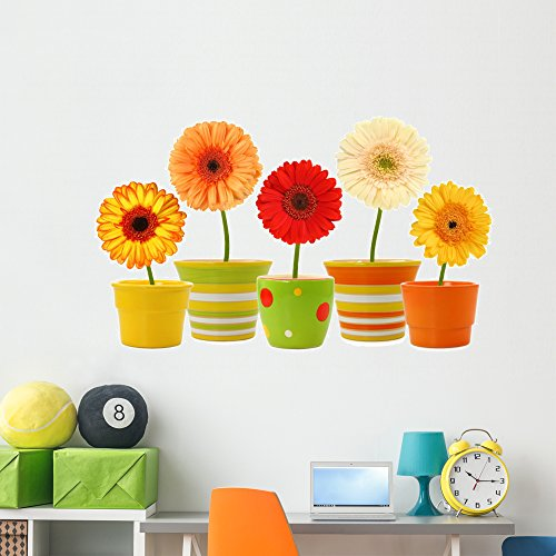 Wallmonkeys Potted Gerbera Daisies Wall Decal Peel and Stick Graphic (60 in W x 40 in H) WM101136 -