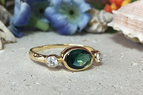 Triple Gemstones Ring - Green Tourmaline Ring - Stacking Ring - Gold Ring - Bezel Ring - Tiny Simple Jewelry ()