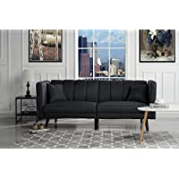 Mid Century Modern Plush Tufted Linen Fabric Living Room Sleeper Futon (Black)