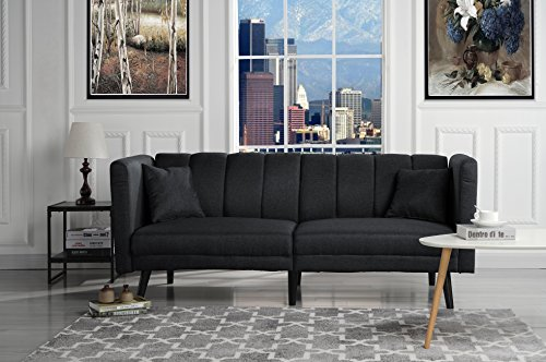 (Sofamania Mid Century Modern Plush Tufted Linen Fabric Living Room Sleeper Futon (Black))