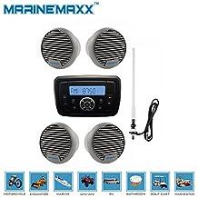 "Marine Audio Stereo MP3 Bluetooth Radio Receiver + 4pcs 3"" Waterproof Speakers+1PCS Marine Radio Antenna"