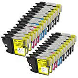 Proosh Compatible 25 Cartridges for LC-61 & LC-65 Non OEM; 10 Black, 5 Cyan, 5 Magenta, & 5 Yellow for use in Compatible Printers: Brother DCP-165C DCP-375CW DCP-385CW DCP-395CN DCP-585CW DCP-J125 MFC-250C MFC-255CW MFC-290C MFC-295CN MFC-490CW