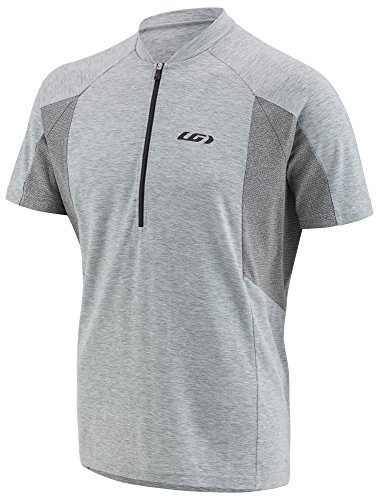 Louis Garneau Men's Connection Lightweight, Quick Dry, Short Sleeve Cycling Jersey, Heather Gray, 2X - Gray Mens Bike Jersey