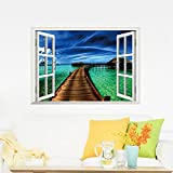 description :miico creative green sea bridge window removable home room decorative wall decor stickermiico wall decorative sticker a art wall decal for home office can stick walls doors windows furniture car any other solid surface they are self-adhe...