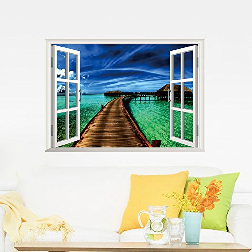 Bogus Windowpane Fence Label - Miico Creative Green Sea Bridge Window Removable Home Decorative Wall Decor Sticker - Imitation Phony Palisade Gummed Unreal Phoney Rampart - 1PCs