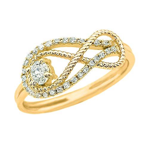 (Diamond Infinity Rope Design 14k Yellow Gold Ring(Size)