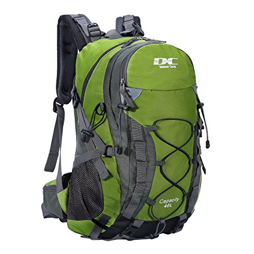 Hiking Backpack 40L Waterproof Outdoor - Diamond Candy Lightweight Travel Backpacks for Men and Women with Rain Cover, Bag for Mountaineering Camping Climbing Cycling Fishing (Green)