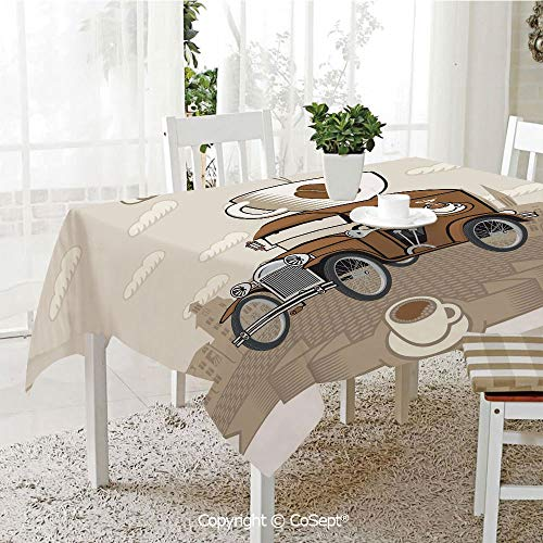 SCOXIXI Rectangle Tablecloth,Old Fashioned Car with Coffee Cup on The Top Caffeine Beverage Hot Drink Decorative,Great for Table,Parties,Holiday Dinner(60.23