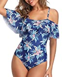 Tempt Me Women's Retro Swimsuit Ruffle Printed Slimming One Piece Flower Leave S