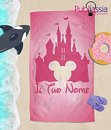 70/_x/_100/_cm Publiassia Stamperia Disney Telo Mare Personalizzato con Nome Idea Regalo Asciugamano Bambini Principessa Mare Vacanze Estate Piscina