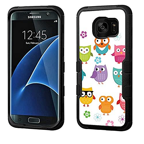 Fit Galaxy S7 EDGE, One Tough Shield  3-Layer Shock Absorbent Hybrid phone Case (Black / Black) for Samsung Galaxy S7 EDGE - (Happy Owl) Sales