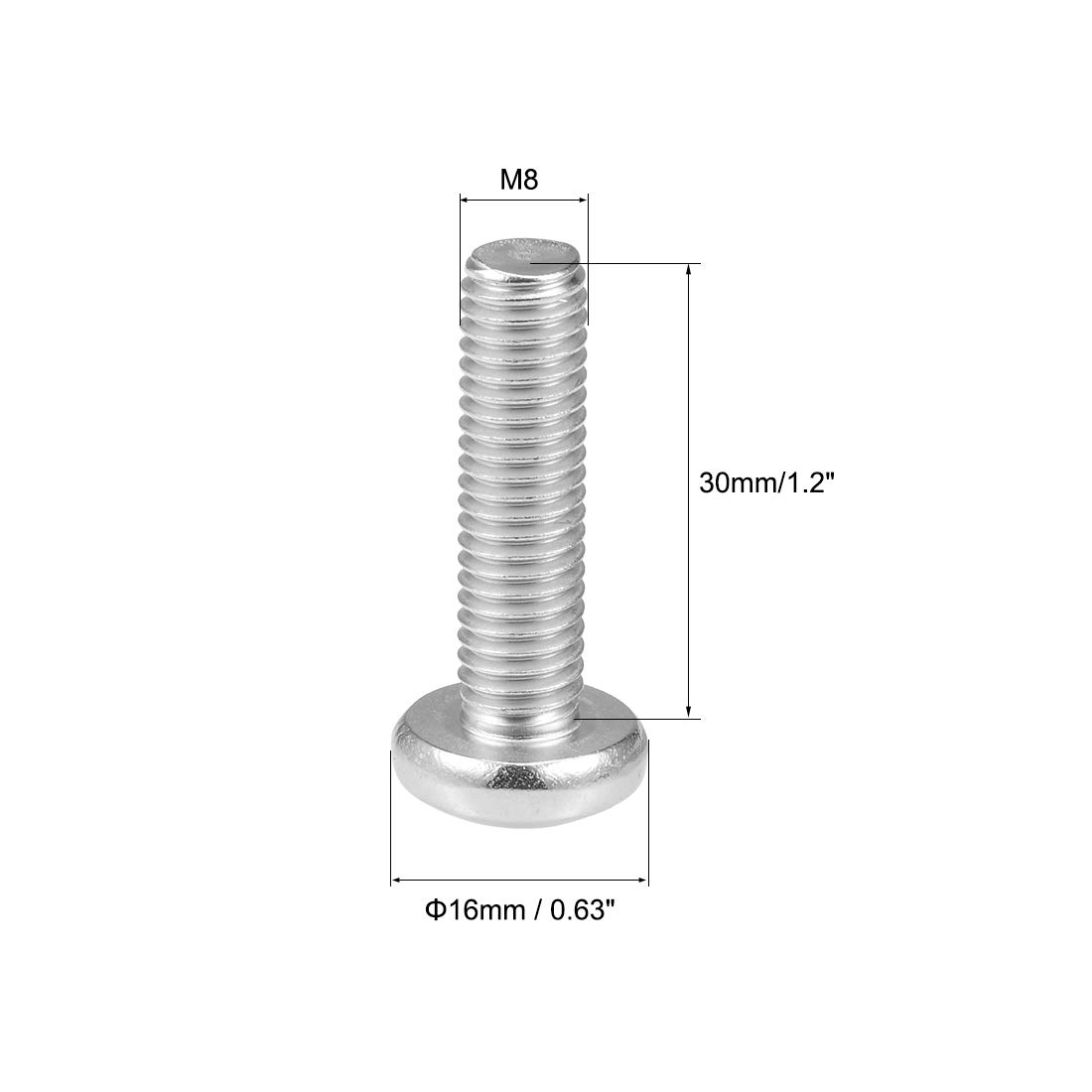 uxcell/® M8x30mm Machine Screws Pan Phillips Cross Head Screw 304 Stainless Steel Fasteners Bolts 5Pcs