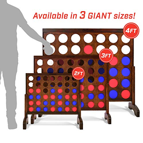 GoSports Giant Wooden 4 in a Row Game - Choose Between Classic White or Dark Stain, and 3 Foot Width - Jumbo 4 Connect Family Fun with Coins, Case and Rules