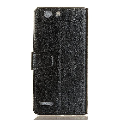 SRY-Caso sencillo Con la ranura para tarjeta y el monedero La caja de cuero de la PU y la contraportada de TPU se pueden abrir para apoyar la cáscara práctica clásica del teléfono para Vodafone Smart  Black