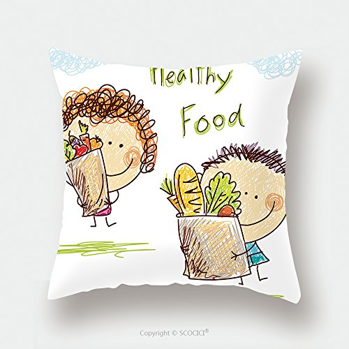 Custom Satin Pillowcase Protector A Little Boy And Girl Is Holding A Large Bag With Food 140613295 Pillow Case Covers Decorative by chaoran