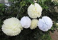 Saitec ® 12PCS Mixed Sizes White Ivory Tissue Paper Flower Pom Poms Pompoms Flower Balls Wedding Pom Poms Wedding Birthday Party Home Decoration