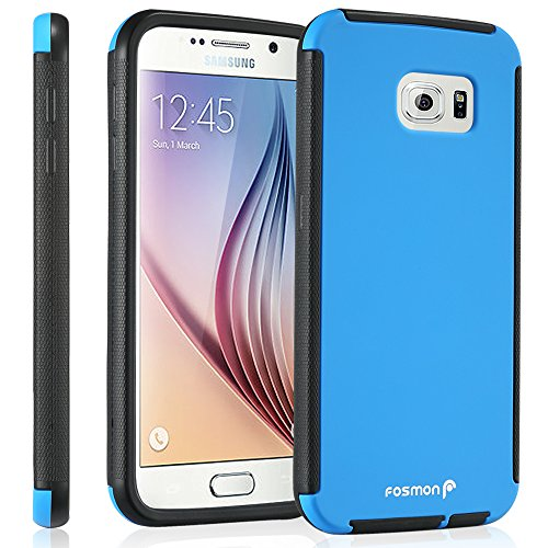 Galaxy S6 Case, Fosmon HYBO-SNAP Hybrid Case with Built in Screen Protector [HD Ultra Clear] Full Body Protection Hard Cover for Samsung Galaxy S6 (Blue/Black)