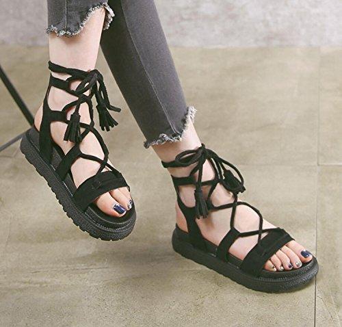 DANDANJIE Sandales Confortables Réglables Abricot Noir Épais Taille Semelles Filles Chaussures 43 34 Femmes Vert D'Été Pantoufles Black Grande Dentelle 1rqg1f