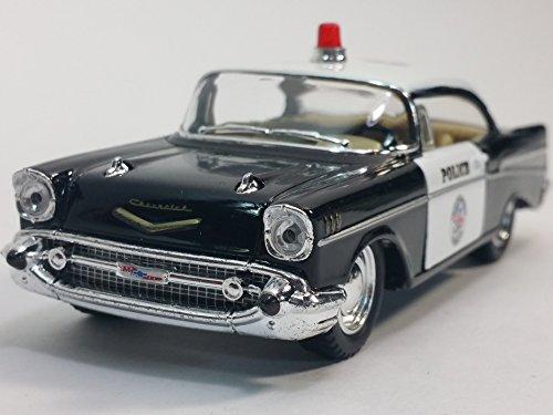 Kinsmart 1957 Black & White Police Chevy Bel Air 1/40 O Scale Diecast Squad Car