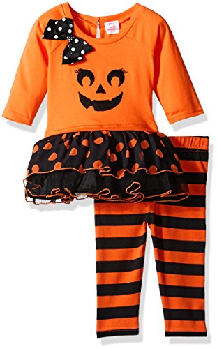 Youngland Baby Girls' Pumpkin Tutu Dress with Knit Legging, Orange/Black, 12 Months