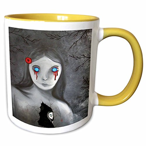(3dRose Dooni Designs Halloween Designs - Bleeding Eyes Goth Gothic Halloween Design - 15oz Two-Tone Yellow Mug)