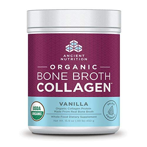 Ancient Nutrition Organic Bone Broth Collagen, Vanilla Flavor, 30 Servings Size - Organic Protein Powder Loaded with Bone Broth Co-Factors, 10g of Type II Collagen Per Serving (Best Homemade Protein Shakes For Building Muscle)