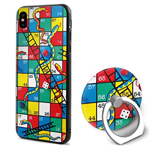 Phone X Case Snakes and Ladders Game Ring Cell Phone Holder Adjustable 360°Rotation Mobile Phone Stand A Trading Ultra Thin PC Hard Lightweight Protection Cover