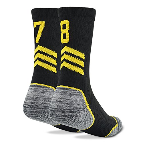 "Custom Number Player Socks,Funcat Women Men Athletic Sports Football Soccer Crew Socks Black/Yellow,1 Pair,""78""""87"""
