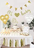 Gender Reveal Party Supplies,Baby Shower Decorations Boy or Girl,Oh Baby Cake Topper,Oh Baby Banner, Gold Glittery letters ,triangle banner,Tassels,1st Birthday Decorations,pregnancy announcement