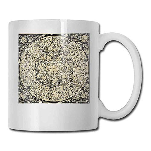 - Astrology Tea Cup Series of Ancient Mystic Esoteric Old Map with Man Figures with Vintage Symbols Latte Ecru Black 11oz