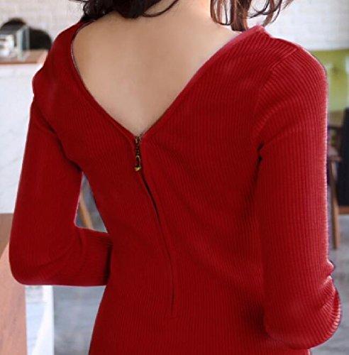 Sleeve Zipper Red Sexy Mini Jaycargogo V Womens Dress Bodycon Half Long Neck TxF60q