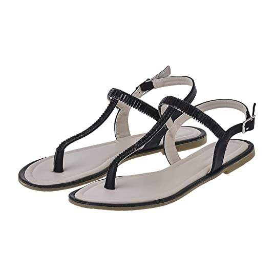 Flat Diamante T-Bar Sandal With Toe Post And Back Strap: Amazon.co.uk:  Shoes & Bags