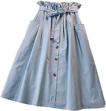 Kasen Falda Largas Vintage Mujer Alta Cintura Faldas Bolsillos ...