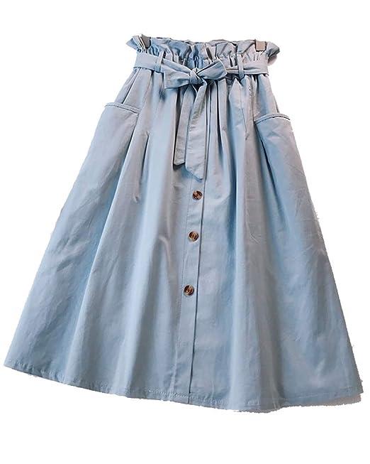 Kasen falda largas vintage mujer alta cintura faldas bolsillos laterales  con correa cintura larga azul ropa a00c4ede4ddc