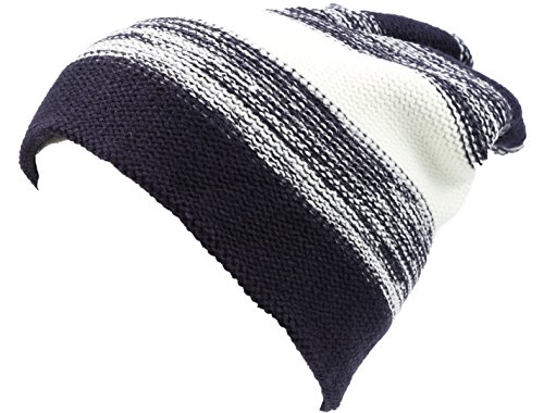Sakkas 16146 - Balmn Long Tall Classic Striped Heather Faux Fur Lined Unisex Beanie Hat - Navy/White - OS (Beanie Classic White)