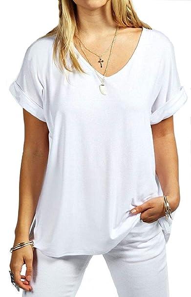 8ee7759f06dd67 Damen Übergröße Fit V Ausschnitt Top Damen Baggy Übergröße Fledermausärmel  Freizeit T-Shirt größen 8-24  Amazon.de  Bekleidung