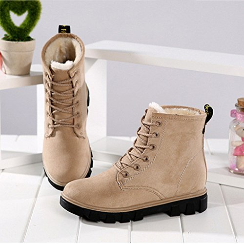 Eagsouni Martin Ankel Boots Womens Lace-up Boots Winter Ladies Outdoor Warm Leather Combat Booties Shoes Beige DMtzRbstj