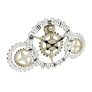 Things2Die4 Industrial Gears Wood and Metal Steampunk Style Wall Clock