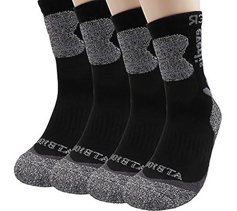 Everlis Mens Hiking Antibacterial Cushion Athletic Mid Crew Quarter Work Socks (L(Men 9~11, size11), Black 4pairs - Anti Blister Double Layer Cool