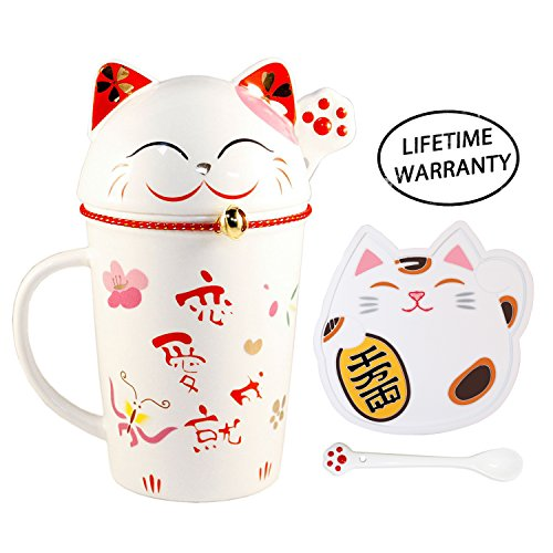 High Quality Japanese Lucky Cat Ceramic Teacup Mug Glass - comes with Lid and Spoon (Red)