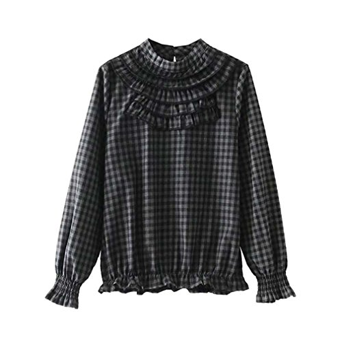 Plaid Ruffled Blouse (Camille-Chen Women Sweet Ruffled Plaid Shirt Long Sleeve Stand Collar Pleated Blouse as Picture L)