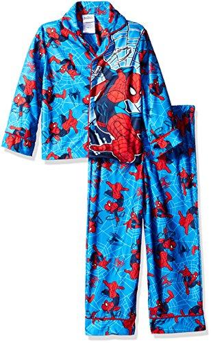 [Marvel Boys' Big Boys' Spiderman 2-Piece Pajama Coat Set, Spidey Suit Blue, 8] (Blue Spiderman Suit)