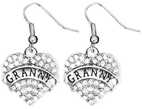 [Mother's Day Gift for Granny Earrings Engraved Gift Jewelry For Granny Crystal Adorned Heart Shaped Pendant French Hook Earrings Gift for Mom or Grandma] (Simple Cheer Dance Costumes)