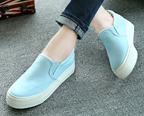 Womens Canvas Shoes Slip On Blue Height Increasing Sfnld Sneaker vdaqwZv