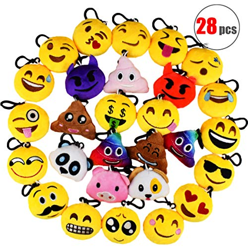 Danirora Emoji Party Favors for Kids, [28 Pack] Mini Emoji Keychain Plush Goodie Bag Fillers Birthday Gifts/ Bulk Toys/ Carnival Prizes ()