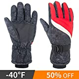Winter Ski Gloves, BKSTONE Snow Sports Gloves Waterproof Mitts Windproof Thermal Gloves Cold Weather Insulated Snowboard Gloves for Women Men Non-Slip Lightweight for Snowboarding, Skiing, Cycling and Camping