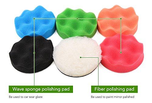 Drill Buffer, Mothers Mag and Aluminum Polish, Car polishing Wax Buffing Polishing Pad Kits-7PCS 4 inch Sponge and Woolen Polishing Pads by 9 MOON (Image #3)